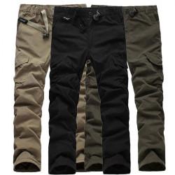 Mens Multi Pockets Thicken Porlar Fleece Drawstring Cargo Pants