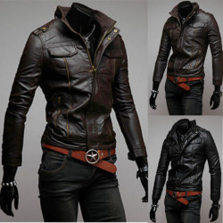 Men's Multiple Zippers Stand Collar Motorcycle PU Leather Jacket