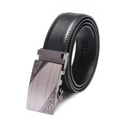 Herren Neu Stil automatische Schnalle Leder Schwarz Belt