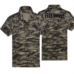 Mens Outdoor Army Camouflage Cotton Polo Short Sleeve T-shirt