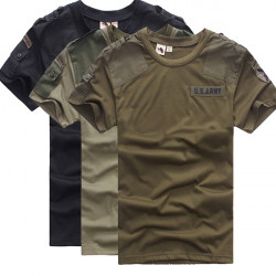 Mens Outdoor Cotton Solid Army Military Short Sleeve T-shirts
