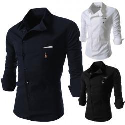 Män Personlighet Oblique Spänne Casual Slim Fit Långärmad Skjorta