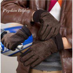 Mens Pigskin Windproof Antifreeze Warm Screw-type Leather Gloves