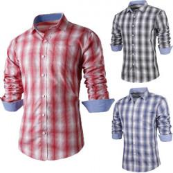 Mens Plaid Long-sleeve Shirt  Slim Fit Stylish Casual Dress Blouse Top