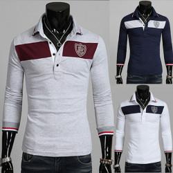 Herren Polo Pullover Mode Kontrast Slim Fit Pullover