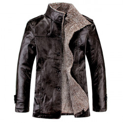 Men's Quality PU Leather Slim Fit  Plush Lining Warm Jacket
