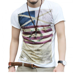 Mens Retro Printed T-shirts Fashion Short Sleeve Casual Round Neck Tops Tees