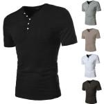 Herren Kurzarm Solid Color Henley T Shirt Herrenbekleidung