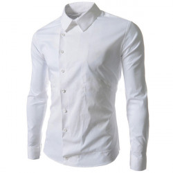 Mens Sideling Open Solid Color Slim Fit Cotton Long Sleeve Shirts