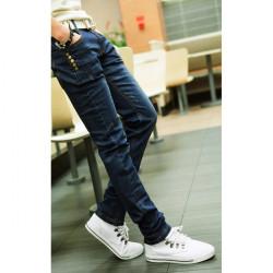 Män Skinny Jeans Mode Slim Fit Blå Jeans