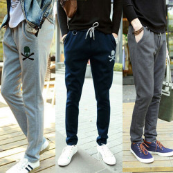 Mens Skull Printing Slim Fit Cotton Sports Pencil  Track Pants