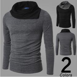 Mens Slim Collar Fashion Leisure 2 colors Long Sleeve T-shirt