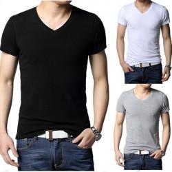 Män Slim Fit Casual Kortärmad T-shirt V-ringad Render Ofodrad Upper Garme