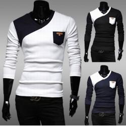 Männer nehmen geeignete Kontrastfarbe V Ausschnitt Pullover beiläufige Sport T Shirt