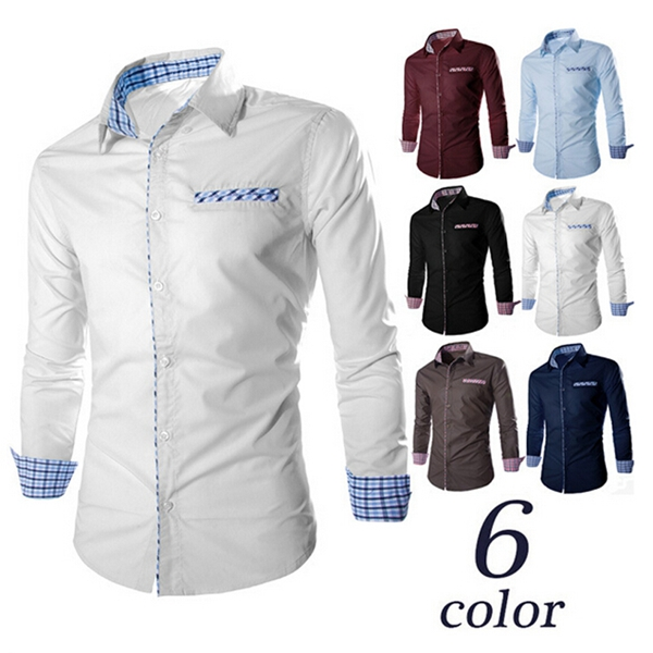 Mens Slim Fit Grid Contrast Color Long Sleeve Formal Suits Dress Shirt Men's Clothing