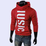 Mens Slim Fit Hoodies Stylish Letters Printed Solid Color Swearters Men's Clothing