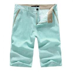 Männer Slim Fit Linen Solid Color Lässige Shorts