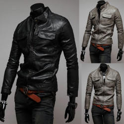 Men's Slim Fit PU Leather Biker Jacket  Rider Jacket