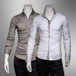 Männer Slim Fit Plaid Side Solid Color T Shirts