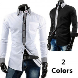 Mens Slim Fit Shirt Casual Double Plover Stylish Long Sleeve Shirt