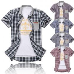 Mens Slim Fit Kortærmet Plaid Pocket Casual Skjorte