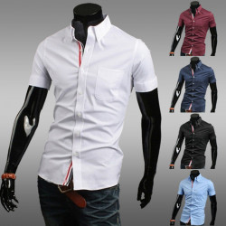 Mens Slim Fit Short Sleeve Ribbon Decorate Casual Shirts