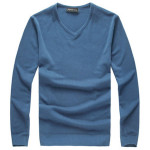 Mens Slim Fit Solid Color V-neck Basic Pullover Sweaters Men's Clothing