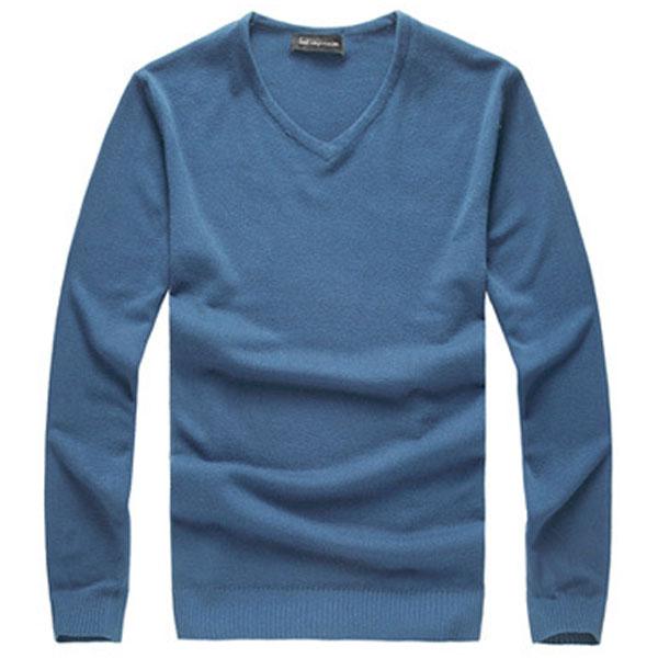 Mens Slim Fit Solid Color V-neck Basic Pullover Sweaters Men's Clothing
