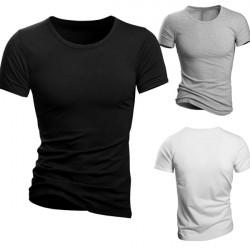 Herren Slim Fit Einfarbig Baumwolle Rundhals Kurzarm T Shirt