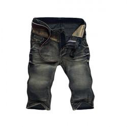 Herren Slim Fit Weinlese gewaschenen Yellow Spots Denim Bermuda Shorts