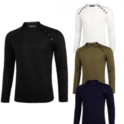 Manar Bantar Tröja Casual Multi Button Rund Hals Långärmad T-shirt