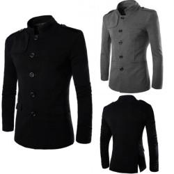Manar Bantar Stand Collar Enkelknäppt Bomull Solid Casual Jacka Suit