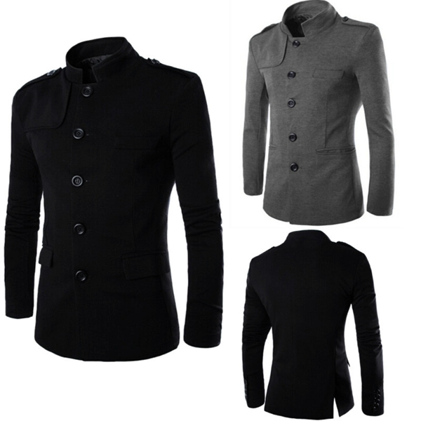 Mens Slim Stand Collar Single-Breasted Cotton Solid Casual Jacket Suit Men's Clothing