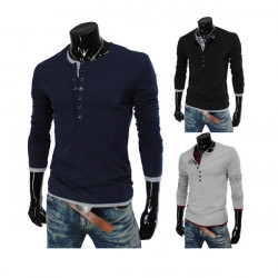 Mens Solid Color Button Down Long Sleeve T Shirt
