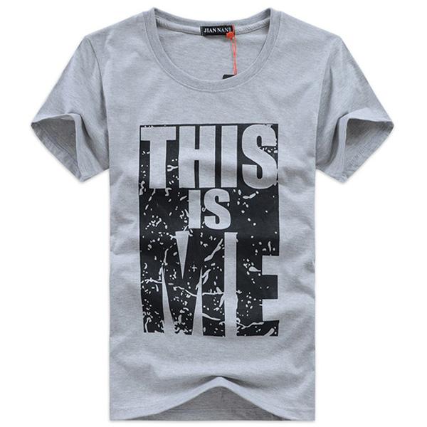 för Män Enfärgad Bomull O-Neck Kortärmad Printing T-shirts Herrkläder
