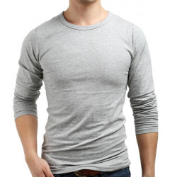 Mens Solid Color Round Collar Cotton Long Sleeve Slim Fit T-shirt
