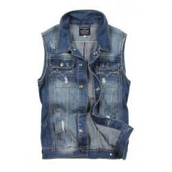 Men's Solid Color Sleeveless Lapel Denim Vest