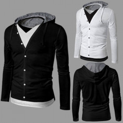 Mens Solid Color Soft Fake Two Piece Hooded Long sleeve T-Shirts