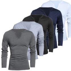 Mens Solid Color stilvollen Persönlichkeit dünnes V Ausschnitt Langarm T Shirt