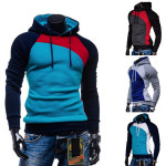 Men's Spell Color Raglan Sleeves Brushed Hedging Hooded Sweater Men's Clothing