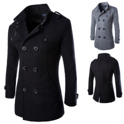 Mens Stand Collar Double-breasted Slim Fit Wool Woolen Coat Jacket