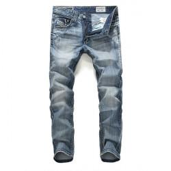 Herren Stern Art gewaschene weiße blaue Straight Leg Denim Jeans