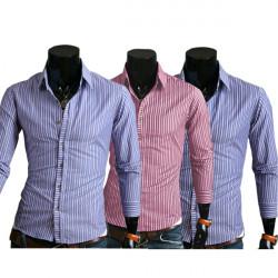 Mens Stripe Slim Fit Long Sleeve Shirts Casual Business Shirts
