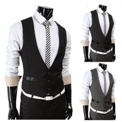Mens Stylish Business Casual Suits 3 Botton Vests