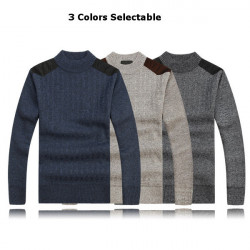 Herren dicke Pullover Lässige Strick Splicing Schulter Pullover