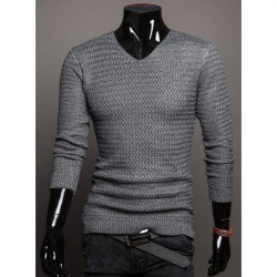 Män Tjock V-ringad Bomull Grov Cord Mode Style Sweater