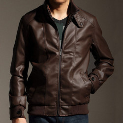 Mens Thicken Cotton Lining Slim Fit PU Leather Jacket Coats