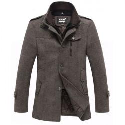Mens Thicken Stand Collar Wool Blend Tweed Coats Winter Zipper Jackets