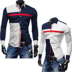 Mens Three-color Stitching Shirt Casual Long-sleeve Fashion Hit Color Shirt