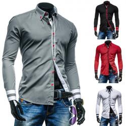 Herren Unique Ausschnitt Geschäfts Slim Fit Kleid Langarm Freizeithemd mit
